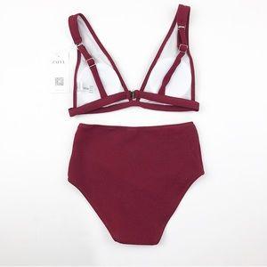 d422b30981a1c Zaful Swim   Textured Plunge High Waisted Bikini Maroon   Poshmark